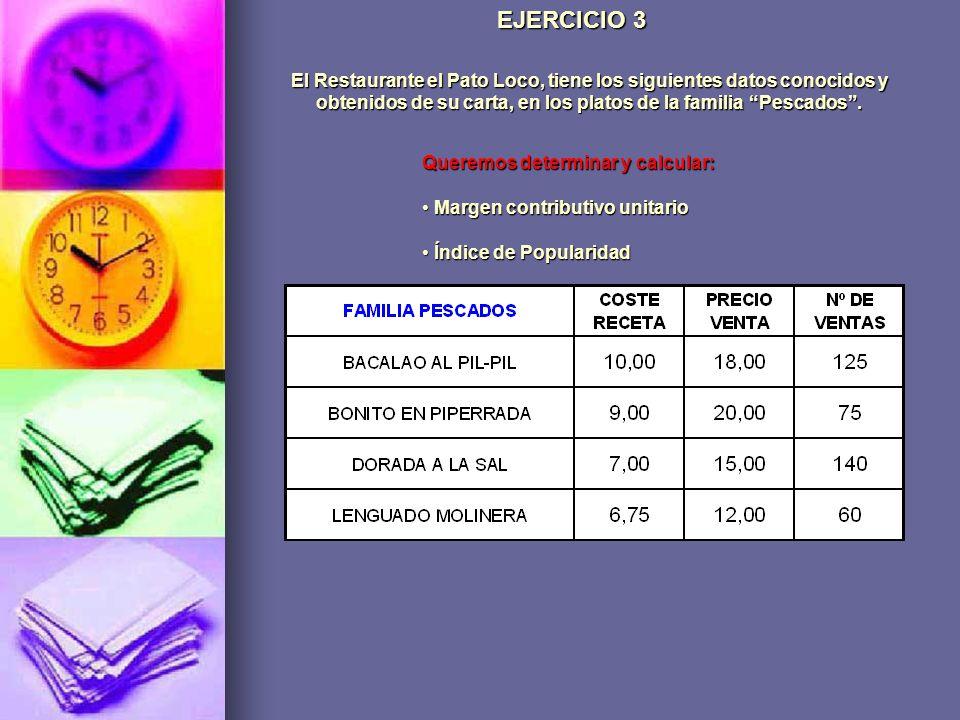 El Restaurante el Pato Loco, tiene los siguientes datos conocidos y obtenidos de su carta, en los platos de la familia Pescados. EJERCICIO 3 Queremos