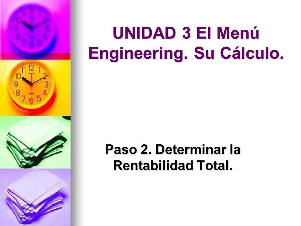 UNIDAD 3 El Menú Engineering. Su Cálculo. Paso 2. Determinar la Rentabilidad Total.