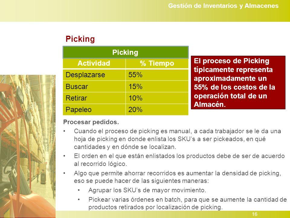 Gestión de Inventarios y Almacenes 16 Picking Actividad% Tiempo Desplazarse55% Buscar15% Retirar10% Papeleo20% Picking El proceso de Picking típicamente representa aproximadamente un 55% de los costos de la operación total de un Almacén.