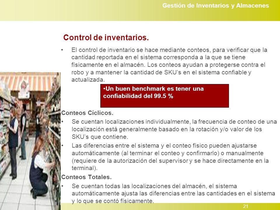 Gestión de Inventarios y Almacenes 21 Control de inventarios.