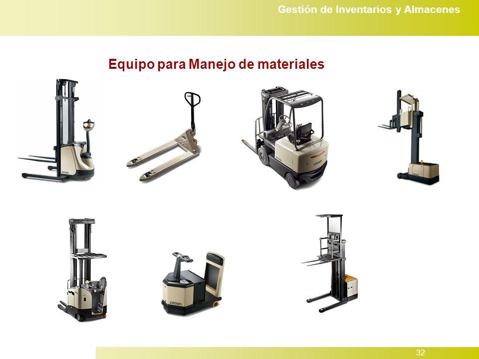 Gestión de Inventarios y Almacenes 32 Equipo para Manejo de materiales