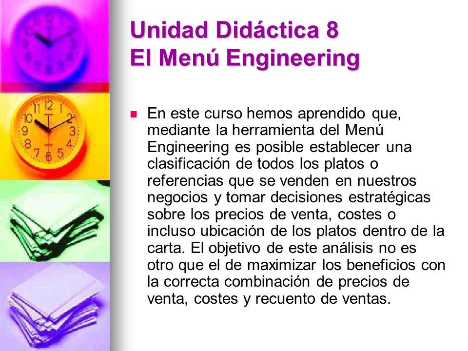 Unidad Didáctica 8 El Menú Engineering En este curso hemos aprendido que, mediante la herramienta del Menú Engineering es posible establecer una clasi