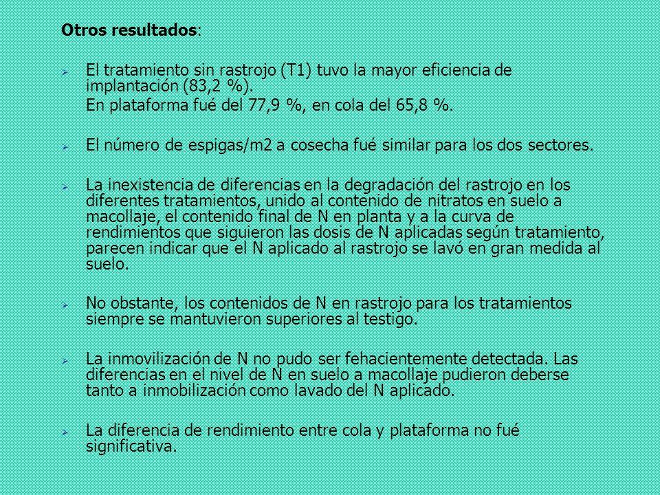 Otros resultados: El tratamiento sin rastrojo (T1) tuvo la mayor eficiencia de implantación (83,2 %). En plataforma fué del 77,9 %, en cola del 65,8 %