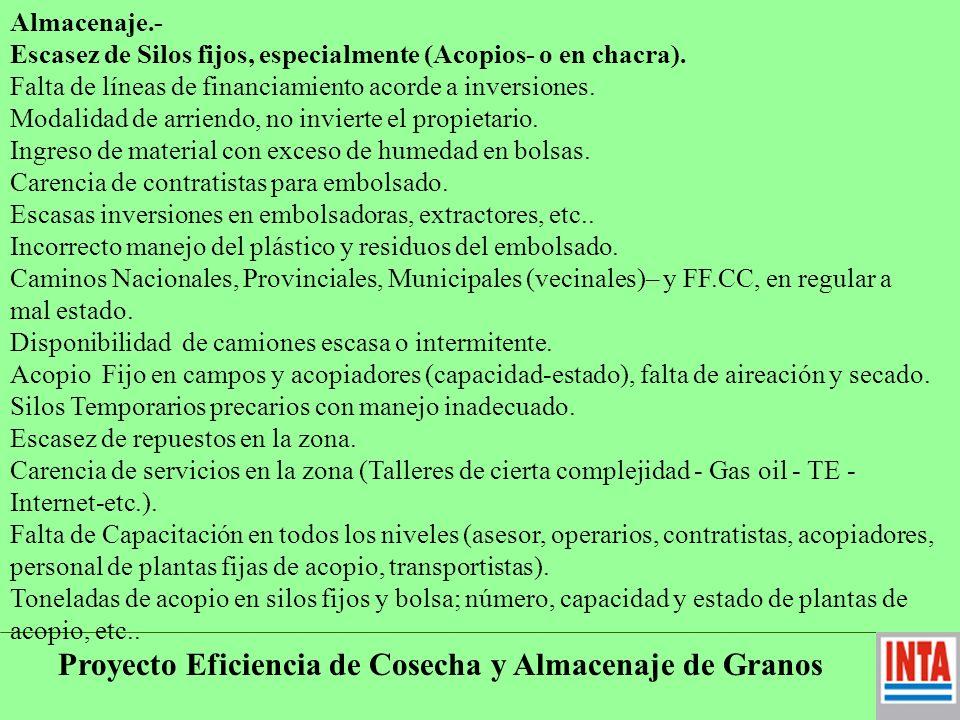 Proyecto Eficiencia de Cosecha y Almacenaje de Granos Modalidad de arriendo, no invierte el propietario.