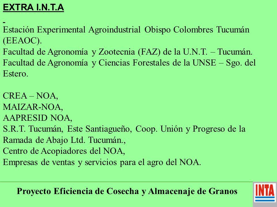 Proyecto Eficiencia de Cosecha y Almacenaje de Granos Recursos: Económicos, Humanos, ambos, otros.