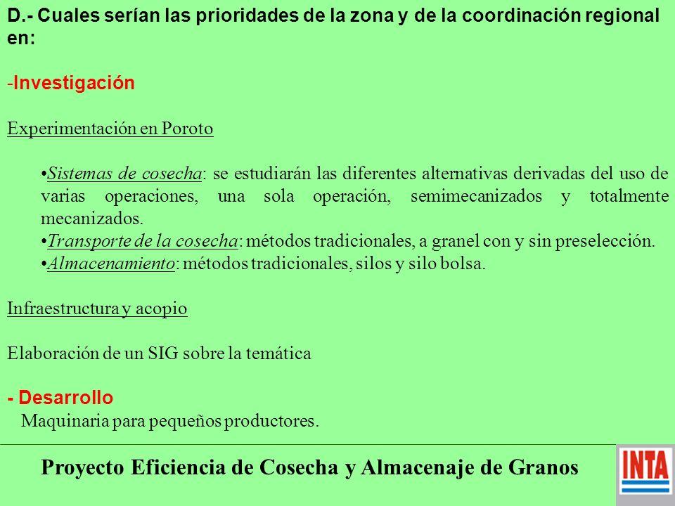 Proyecto Eficiencia de Cosecha y Almacenaje de Granos EXTRA I.N.T.A Estación Experimental Agroindustrial Obispo Colombres Tucumán (EEAOC).