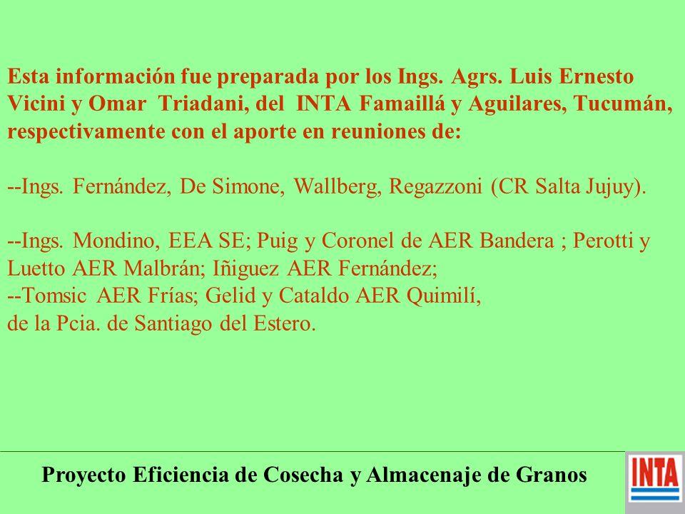 Proyecto Eficiencia de Cosecha y Almacenaje de Granos Relacionamiento: Es bueno el relacionamiento con Universidades y Entidades Oficiales del NOA.