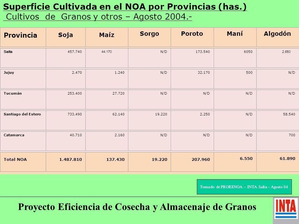 Superficie Cultivada en el NOA por Provincias (has.) Cultivos de Granos y otros – Agosto 2004.- N/D: No detectado.