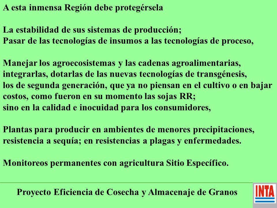 Proyecto Eficiencia de Cosecha y Almacenaje de Granos A esta inmensa Región debe protegérsela La estabilidad de sus sistemas de producción; Pasar de las tecnologías de insumos a las tecnologías de proceso, Manejar los agroecosistemas y las cadenas agroalimentarias, integrarlas, dotarlas de las nuevas tecnologías de transgénesis, los de segunda generación, que ya no piensan en el cultivo o en bajar costos, como fueron en su momento las sojas RR; sino en la calidad e inocuidad para los consumidores, Plantas para producir en ambientes de menores precipitaciones, resistencia a sequía; en resistencias a plagas y enfermedades.