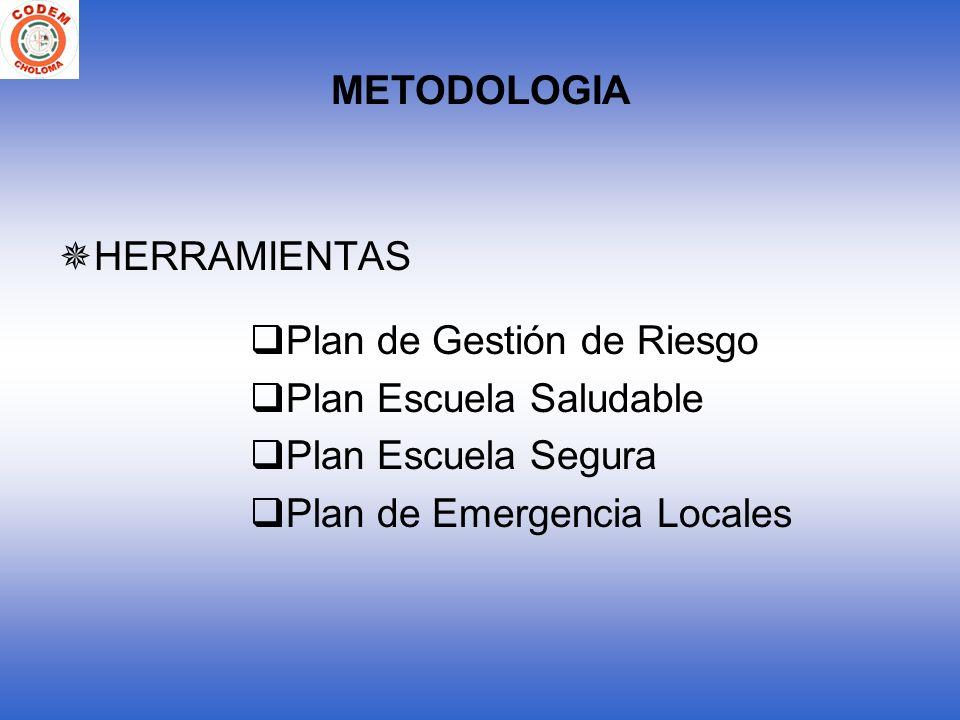 METODOLOGIA HERRAMIENTAS Plan de Gestión de Riesgo Plan Escuela Saludable Plan Escuela Segura Plan de Emergencia Locales