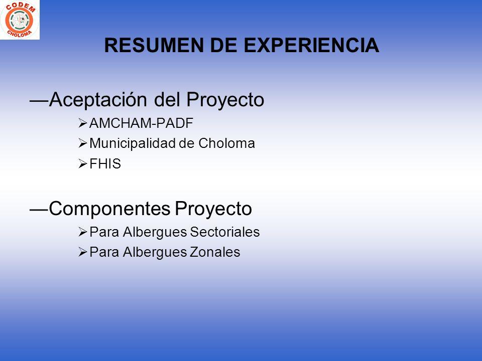 RESUMEN DE EXPERIENCIA Aceptación del Proyecto AMCHAM-PADF Municipalidad de Choloma FHIS Componentes Proyecto Para Albergues Sectoriales Para Albergue