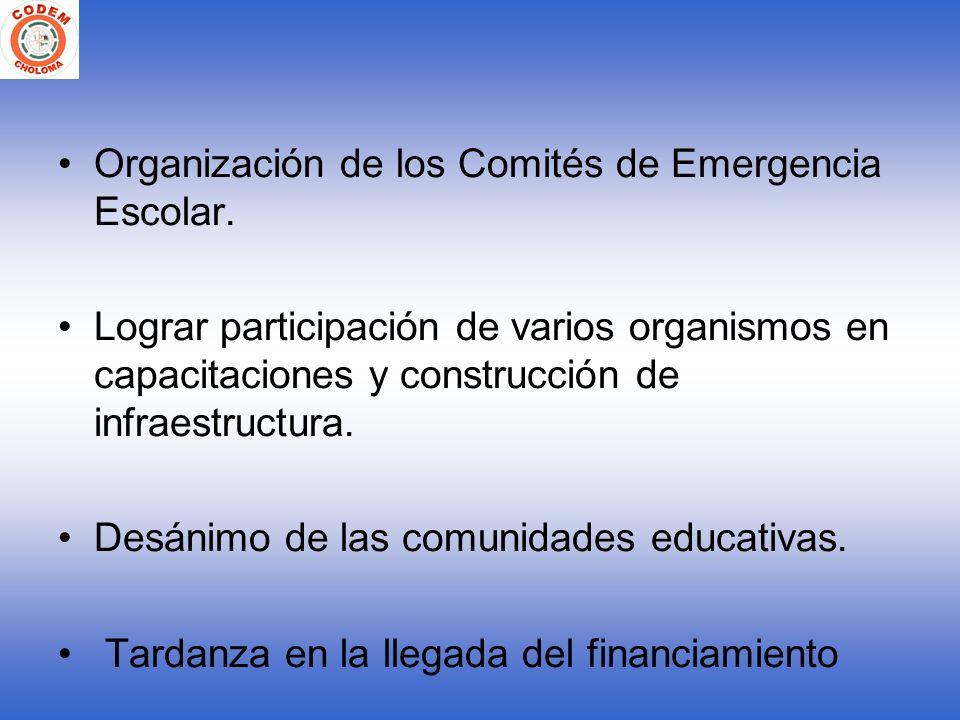 Organización de los Comités de Emergencia Escolar. Lograr participación de varios organismos en capacitaciones y construcción de infraestructura. Desá