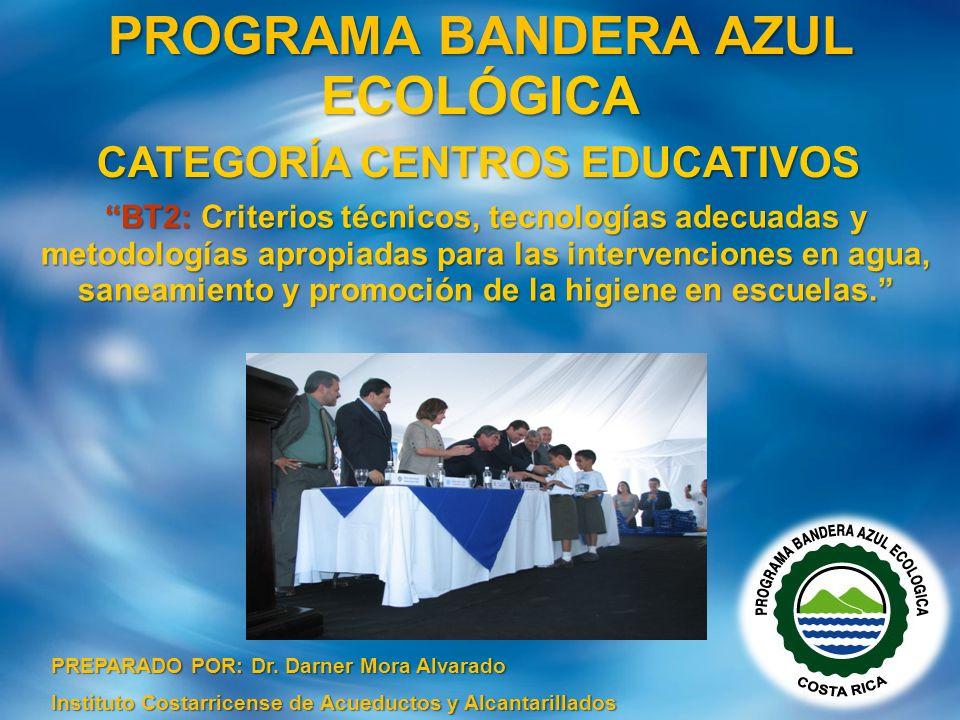 PREPARADO POR: Dr. Darner Mora Alvarado Instituto Costarricense de Acueductos y Alcantarillados PROGRAMA BANDERA AZUL ECOLÓGICA CATEGORÍA CENTROS EDUC