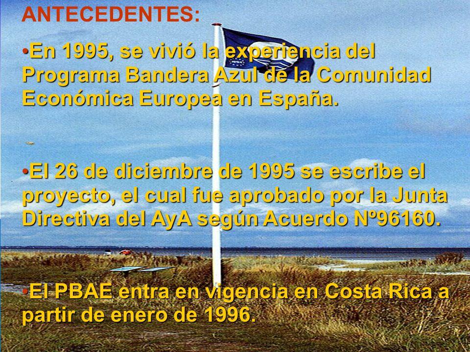 ANTECEDENTES: En 1995, se vivió la experiencia del Programa Bandera Azul de la Comunidad Económica Europea en España. En 1995, se vivió la experiencia