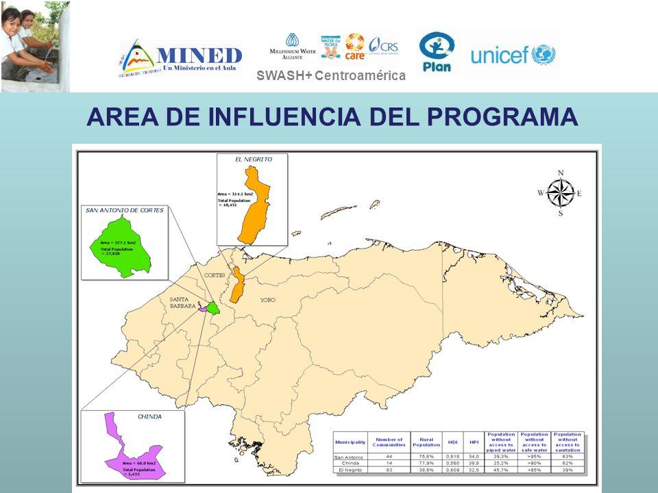 PRESIDENCIA DE LA REPÚBLICA Ministerio de Ambiente, Vivienda y Desarrollo Territorial SOSTENIBILIDAD EN LA EJECUCION DE LOS PROYECTOS SWASH+ SWASH+ Centroamérica AREA DE INFLUENCIA DEL PROGRAMA
