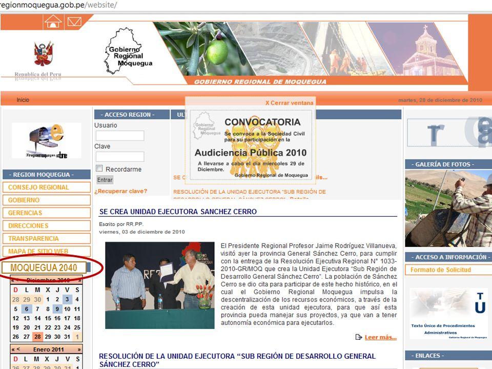 Rubén Gómez Sánchez S. Director Proyecto PERÚ 2040 Rev. 01, 28/12/10 13 MOQUEGUA 2040