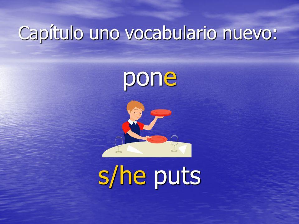 Capítulo uno vocabulario nuevo: pone s/he puts