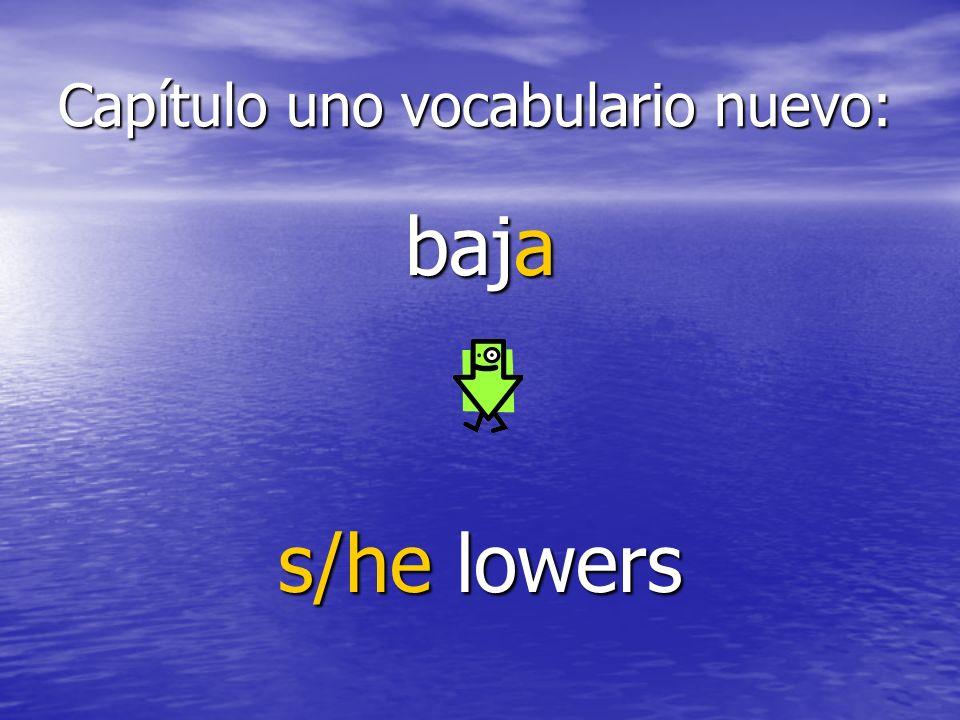 Capítulo uno vocabulario nuevo: baja s/he lowers