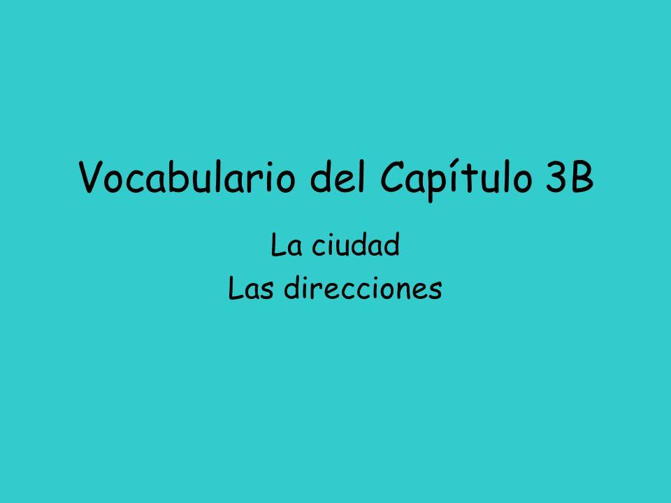 Vocabulario del Capítulo 3B La ciudad Las direcciones