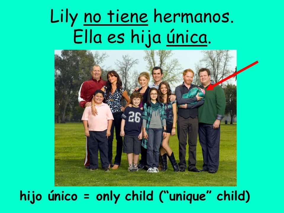 Lily no tiene hermanos. Ella es hija única. hijo único = only child (unique child)