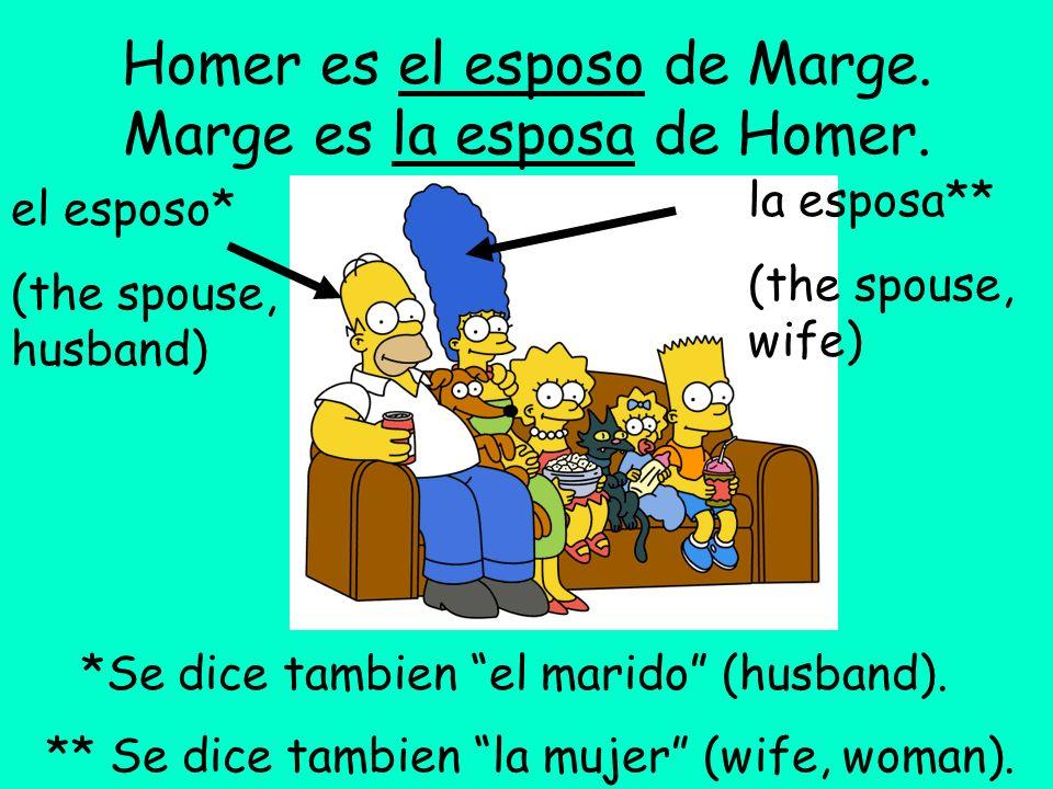 Homer es el esposo de Marge. Marge es la esposa de Homer. el esposo* (the spouse, husband) la esposa** (the spouse, wife) *Se dice tambien el marido (