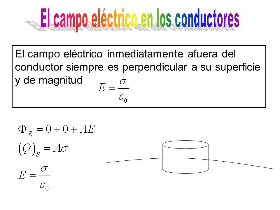 El campo eléctrico inmediatamente afuera del conductor siempre es perpendicular a su superficie y de magnitud