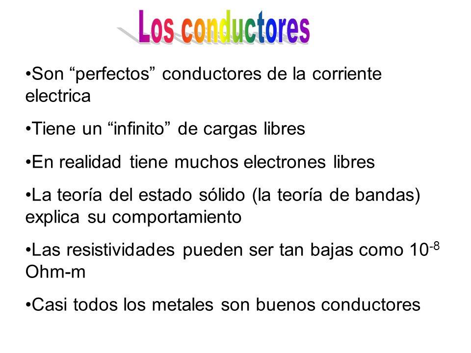 Son perfectos conductores de la corriente electrica Tiene un infinito de cargas libres En realidad tiene muchos electrones libres La teoría del estado sólido (la teoría de bandas) explica su comportamiento Las resistividades pueden ser tan bajas como 10 -8 Ohm-m Casi todos los metales son buenos conductores