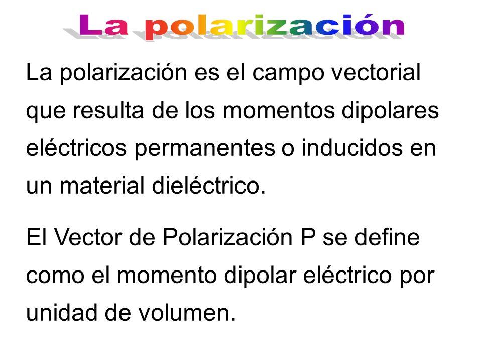 La polarización es el campo vectorial que resulta de los momentos dipolares eléctricos permanentes o inducidos en un material dieléctrico. El Vector d