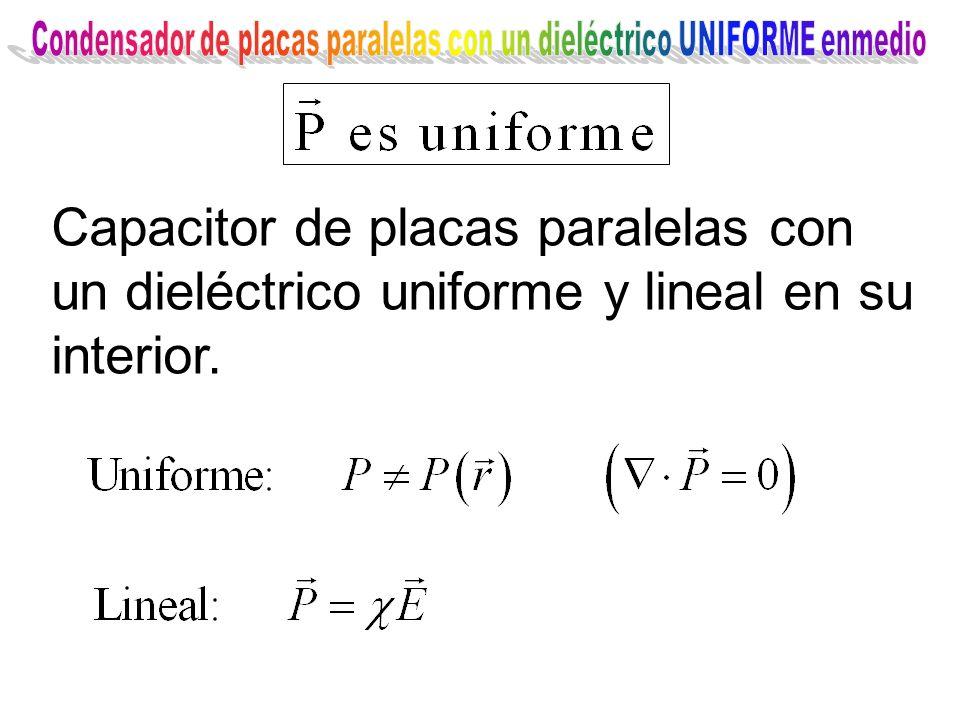 Capacitor de placas paralelas con un dieléctrico uniforme y lineal en su interior.