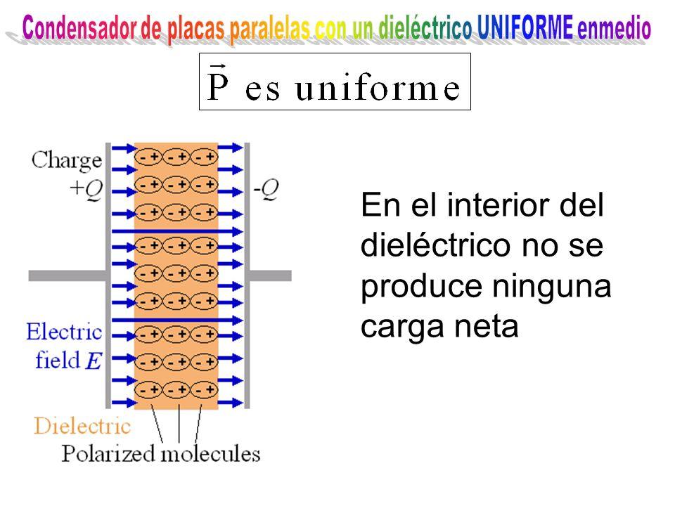 En el interior del dieléctrico no se produce ninguna carga neta