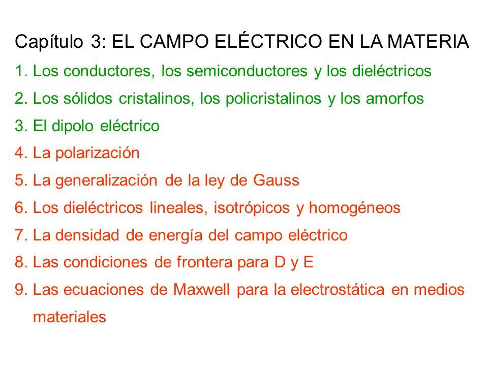 Capítulo 3: EL CAMPO ELÉCTRICO EN LA MATERIA 1.Los conductores, los semiconductores y los dieléctricos 2.Los sólidos cristalinos, los policristalinos