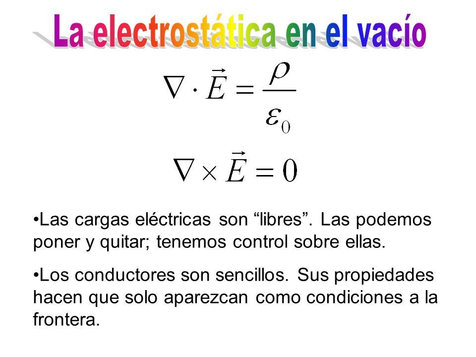 Las cargas eléctricas son libres. Las podemos poner y quitar; tenemos control sobre ellas. Los conductores son sencillos. Sus propiedades hacen que so