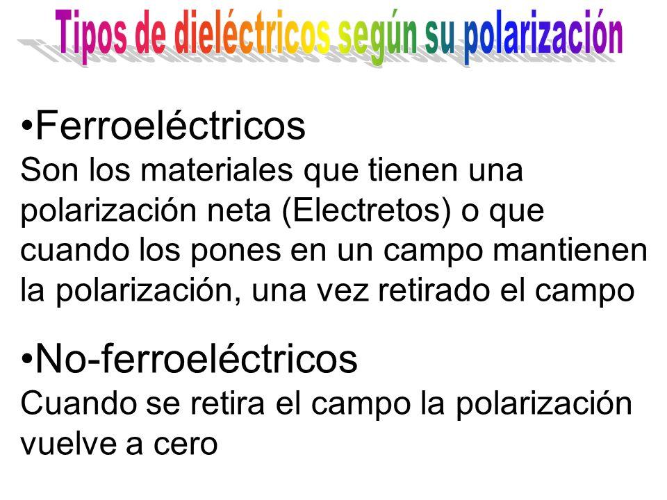Ferroeléctricos Son los materiales que tienen una polarización neta (Electretos) o que cuando los pones en un campo mantienen la polarización, una vez