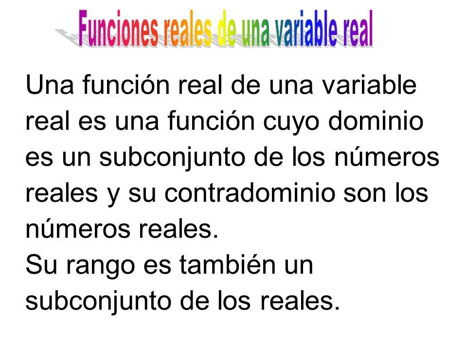 Una función real de una variable real es una función cuyo dominio es un subconjunto de los números reales y su contradominio son los números reales.
