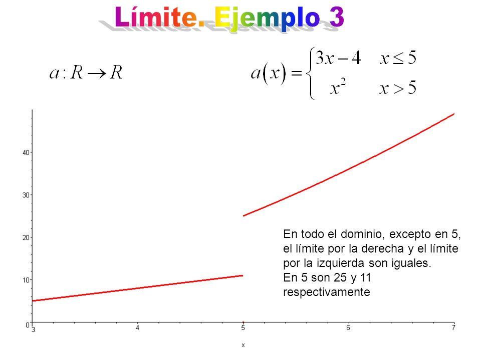 En todo el dominio, excepto en 5, el límite por la derecha y el límite por la izquierda son iguales.