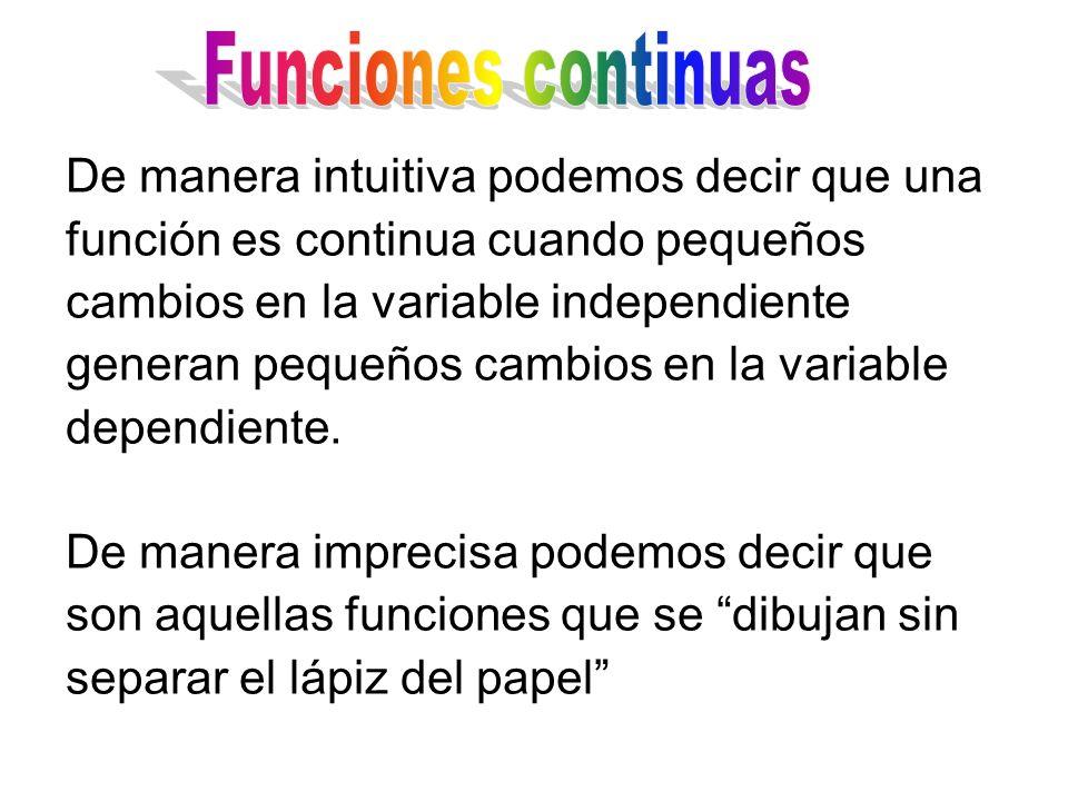 De manera intuitiva podemos decir que una función es continua cuando pequeños cambios en la variable independiente generan pequeños cambios en la variable dependiente.