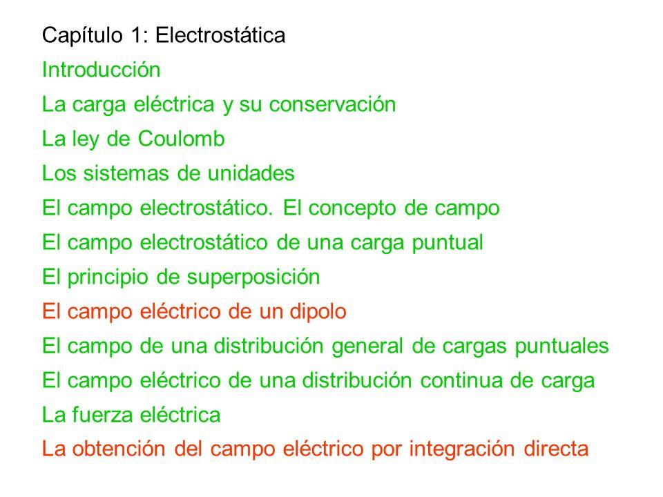 Capítulo 1: Electrostática Introducción La carga eléctrica y su conservación La ley de Coulomb Los sistemas de unidades El campo electrostático. El co