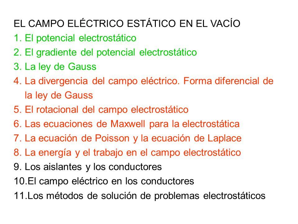 EL CAMPO ELÉCTRICO ESTÁTICO EN EL VACÍO 1.El potencial electrostático 2.El gradiente del potencial electrostático 3.La ley de Gauss 4.La divergencia d