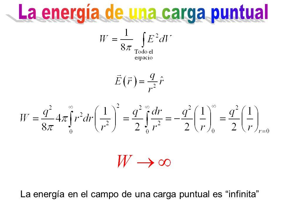 La energía en el campo de una carga puntual es infinita