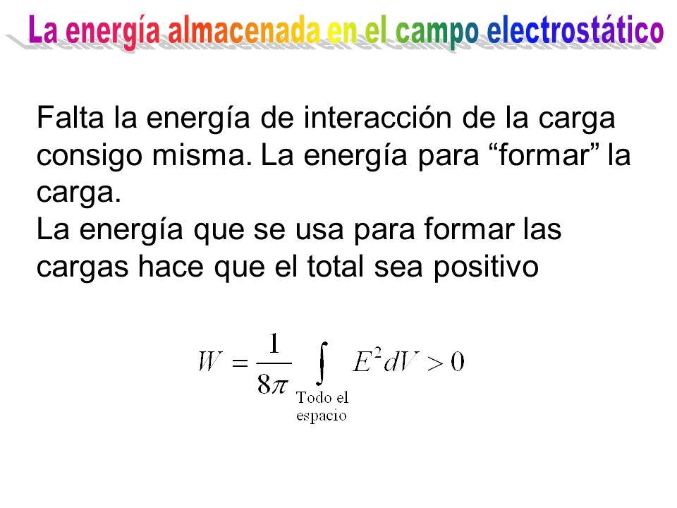 Falta la energía de interacción de la carga consigo misma. La energía para formar la carga. La energía que se usa para formar las cargas hace que el t