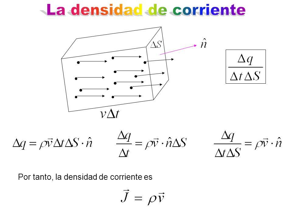 Por tanto, la densidad de corriente es