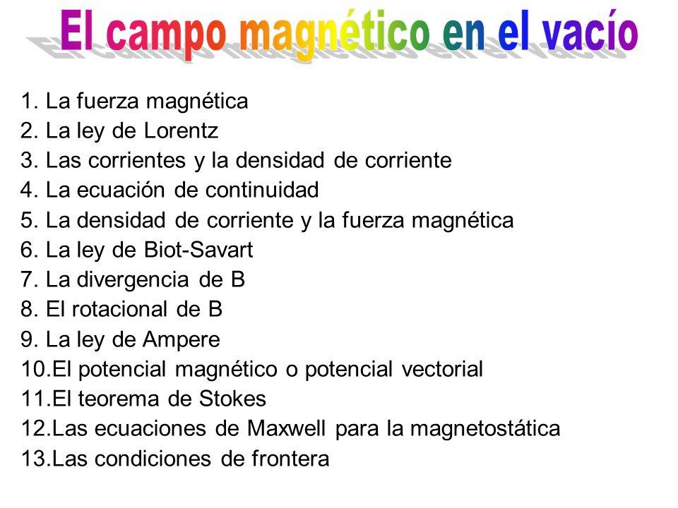 1.La fuerza magnética 2.La ley de Lorentz 3.Las corrientes y la densidad de corriente 4.La ecuación de continuidad 5.La densidad de corriente y la fue