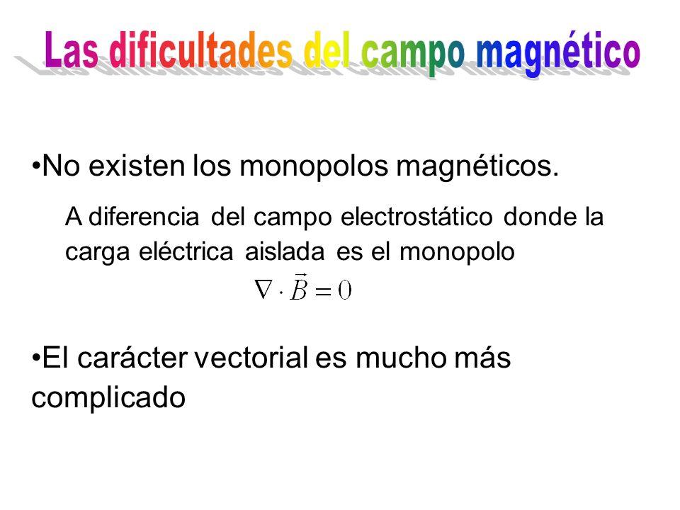 No existen los monopolos magnéticos. A diferencia del campo electrostático donde la carga eléctrica aislada es el monopolo El carácter vectorial es mu
