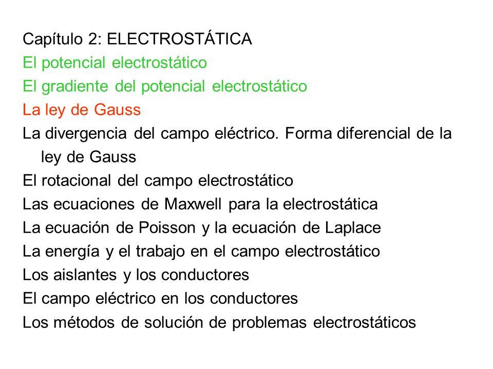 Capítulo 2: ELECTROSTÁTICA El potencial electrostático El gradiente del potencial electrostático La ley de Gauss La divergencia del campo eléctrico. F