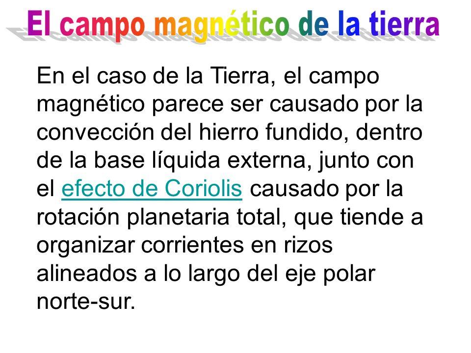 En el caso de la Tierra, el campo magnético parece ser causado por la convección del hierro fundido, dentro de la base líquida externa, junto con el e
