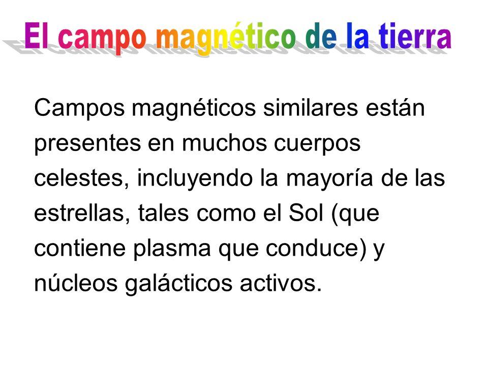 Campos magnéticos similares están presentes en muchos cuerpos celestes, incluyendo la mayoría de las estrellas, tales como el Sol (que contiene plasma