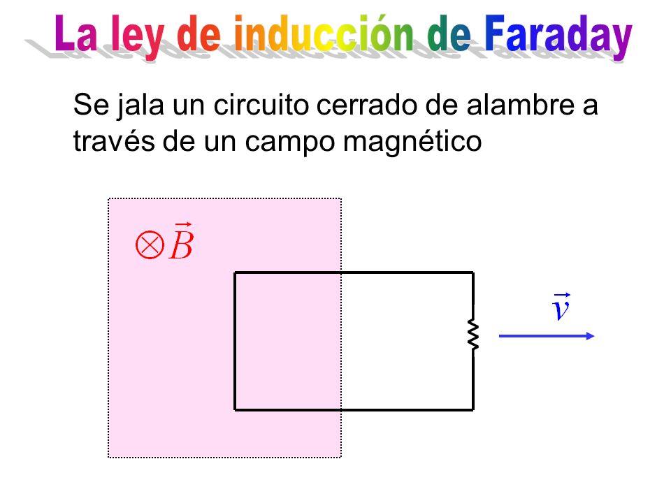 Se jala un circuito cerrado de alambre a través de un campo magnético