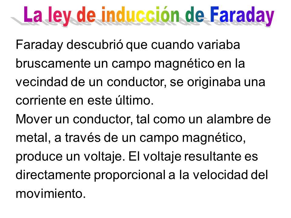 Faraday descubrió que cuando variaba bruscamente un campo magnético en la vecindad de un conductor, se originaba una corriente en este último. Mover u