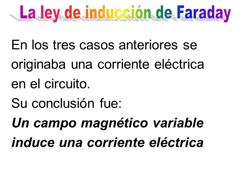 En los tres casos anteriores se originaba una corriente eléctrica en el circuito. Su conclusión fue: Un campo magnético variable induce una corriente