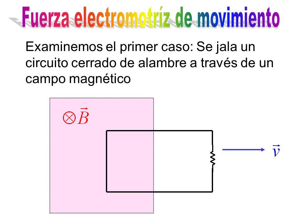 Examinemos el primer caso: Se jala un circuito cerrado de alambre a través de un campo magnético